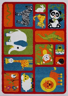 Adorable Animals Red Area Rug #zoo #classroom #classroomdecor #rug #area #children #toddler #babies #red #multi #nursery #decor Vivid Colors, Colours, Kids Play Area, Cartoon Kids, Classroom Decor, Pet Birds, Modern Decor, Kids Playing, Area Rugs