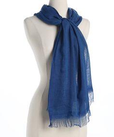 Look at this #zulilyfind! Cobalt Blue Linen Organic Scarf by Blue Pacific Fashion #zulilyfinds