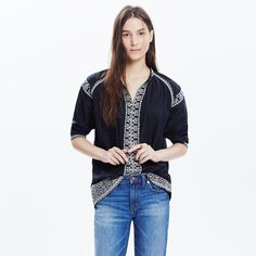 Madewell tassel tie top, NWT size small NWT, size small. Sold out! Black with white embroidery. An easy popover peasant shirt edged in intricate embroidery. Ties close at the neck with handmade tassels.  Slightly oversized fit. Cotton. Machine wash. Import. Madewell Tops Blouses