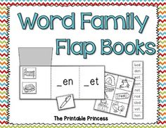 "Word family flap books. Students will cut out the pictures and glue them under the corresponding word family ""flap""."