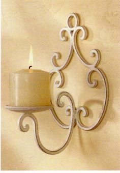 distressed white iron wall sconce