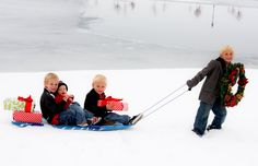 Christmas Card idea with kids on a sled with presents