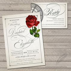 100 Beauty And The Beast Wedding Invitations Rose Tale As Old Time Printed