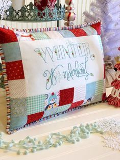 Your place to buy and sell all things handmade PATTERN Winter pillow PATTERN, winter wonderland christmas pillow, embroidery Winter Wonderland Patt. Colchas Quilt, Christmas Cushions, Christmas Pillow Cases, Quilted Pillow, Patchwork Pillow, Quilt Pillow Case, Owl Pillow, Crochet Pillow, Neck Pillow
