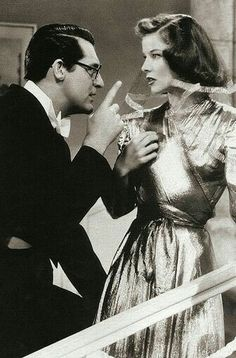 "Cary Grant with Katharine Hepburn in ""Bringing Up Baby"""