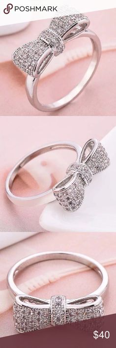 Adorable 925SS CZ bow ring! Adorable 925SS CZ bow ring! Jewelry Rings