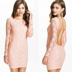 Sexy Backless Long Sleeve Slim Fit Package Hip Lace Dress #pink  #backless #womenfashion