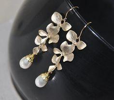 Bridal Earrings Dangle Earrings Gold Earrings by jewelrybyirina, $29.50