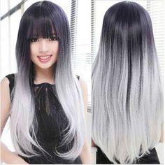 Women Lolita Hair Black/Gray/White Long Straight Wig Cosplay Anime Wigs + cap
