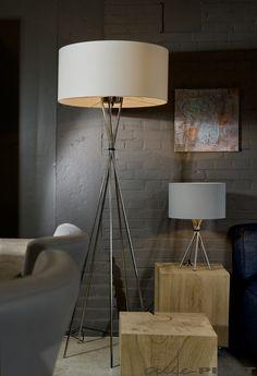 Vloerlamp Lima - vijf poten en ronde katoenen kap - Woonwinkel Alle Pilat