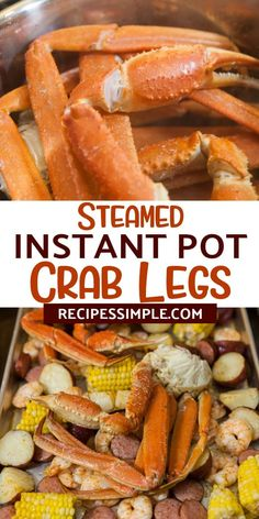 These easy Instant Pot Steamed Crab Legs are so delicious! This is a great crab legs recipe to make at home for seafood lovers These easy Instant Pot Steamed Crab Legs are so delicious! This is a great crab legs recipe to make at home for seafood lovers Diet Dinner Recipes, Instant Pot Dinner Recipes, Seafood Recipes, Cooking Recipes, Healty Dinner, Instant Recipes, Oven Recipes, Vegetarian Cooking, Steak Recipes