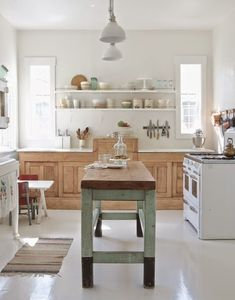 A fresh and airy kitchen that's less shabby-chic and more rustic and modern.
