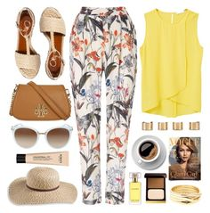 """Outfit Of The Day"" by monmondefou ❤ liked on Polyvore featuring Phase Eight, MANGO, Charlotte Olympia, Tory Burch, L.L.Bean, Maison Margiela, Estée Lauder, Tom Ford, Repossi and yellow"