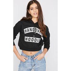 Macee Black Cropped Hangover Hoodie ($9.41) ❤ liked on Polyvore featuring tops, hoodies, black, hoodie top, distressed hoodie, cropped hooded sweatshirt, ripped tops and sweatshirt hoodies
