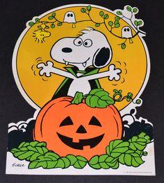 1965 Halloween Snoopy with Jack-o-Lantern Die Cut Ruby Lane #rubylane #Halloween