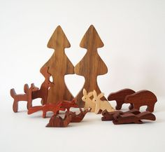 Wooden Woodland Play Set Waldorf Miniature Hand Cut Scroll Saw -- $50.00.  This is all sorts of cute.