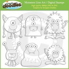 Monsters Line Art