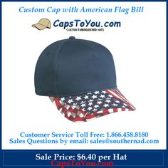 Custom Cap with American Flag Bill Pricing Includes Logo! Fast Shipping!  http://www.capstoyou.com/Custom-Cap-with-American-Flag-Bill-p/usa-105.htm  American Flag Bill Hat Mid Profile Structured 5 Panel Polyester/Cotton Twill Pre-curved Visor Plastic Snap Closure Closure Matches Crown  Sale Price: $6.40 per Hat