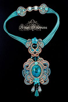 Soutache collana in azzurro, splendida
