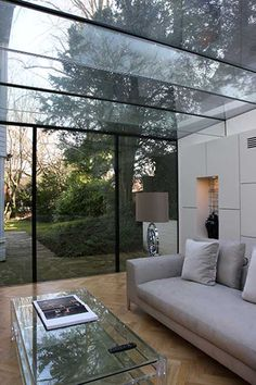 clean lines, frameless glass extension Interior Exterior, Interior Design Kitchen, Exterior Design, Interior Architecture, Modern Conservatory, Glass Conservatory, Glass Extension, Roof Extension, Extension Ideas