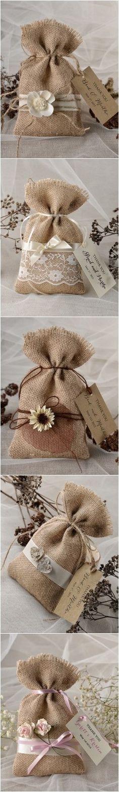 Rustic country burlap wedding favor bags @4LOVEPolkaDots