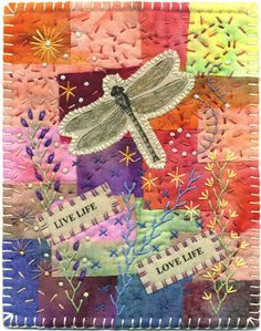Dragonfly Fabric Collage - Baumcat