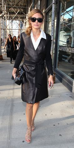 Olivia Palermo in a DVF leather wrap dress...doesn't get any better.