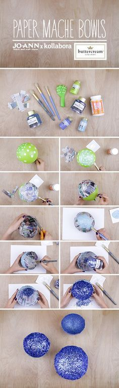 Can't go wrong with glitter! Stella Paper Mache Bowls by Kollabora   Project   Papercraft / Coasters & Tableware   Kollabora