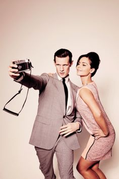 The Eleventh Doctor leaning and posing beside companion Clara Oswald for a Leica M3 selfie - Lomography
