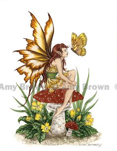 """""""Golden Butterfly"""" ORIGINAL ART - Watercolor Paintings A - H - Amy Brown Fairy Art - The Official Gallery"""
