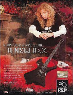 Megadeth Dave Mustaine Signature ESP AXXION guitar ad 8 x 11 advertisement print Dave Mustaine Guitar, Vic Rattlehead, Alexi Laiho, David Ellefson, Esp Guitars, Dave Navarro, Guitar Posters, Alex Lifeson, Guitar Magazine