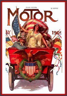 1909 July Cover - Motor Magazine artist F. L Stoddard