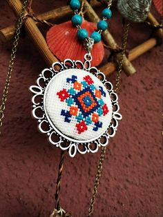 Necklace Cross Stitch Statement Jewelry Kilim, Turkish Rug Anatolian Embroidery Pattern Pendant Unique Women Gift For Her - Diy Jewelry Unique Cross Stitch Embroidery, Embroidery Patterns, Cross Stitch Patterns, Motifs Perler, Diy Jewelry Unique, Unique Gifts For Women, Diy Jewelry Inspiration, Textile Jewelry, Embroidery Jewelry