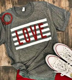 Love Stripe Shirt - Holiday Shirts - Ideas of Holiday Shirts - Excited to share this item from my shop: Love Stripe Tee Valentines Shirt Love Tee Diy Valentine's Shirts, Vinyl Shirts, Diy Shirt, Cute Shirts, Casual Shirts, Cool Graphic Tees, Valentines Day Shirts, Valentine Crafts, Love Shirt