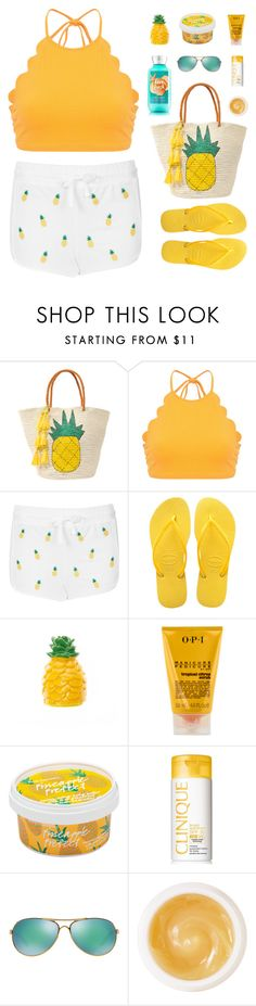 """Beach Totes"" by sweetpastelady ❤ liked on Polyvore featuring Sensi Studio, Marysia Swim, Topshop, Havaianas, claire's, OPI, Clinique, Oakley and Pommade Divine"