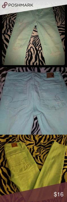 American Eagle Mint Distressed Super Skinny Jeans American Eagle Super Skinny Jeans. They are distressed and come in a Mint green color. Super Comfortable! Have only been worn a few times. American Eagle Outfitters Jeans Skinny