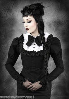 Restyle-Bluse-Gothic-Lolita-Shirt-Victorian-Rueschen-Ruffles-Steampunk-R3-Weiss