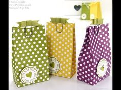 ▶ Stampin' Up! UK Polka Dot Parade 6 bags from one sheet DSP - YouTube