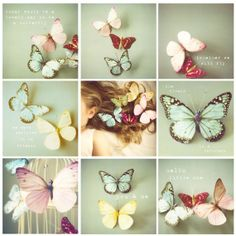 Set of 9 4x4 whimsical Butterfly photos by SusannahTucker on Etsy, $30.00 love this for my girl's room!