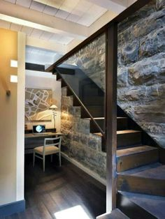 Real natural stone walks bronze steel staircase office cubicle beige tan taupe design. Rich and warm living!