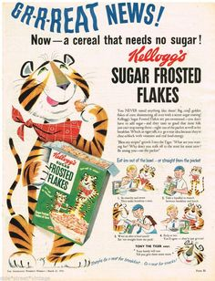 KELLOGG'S FROSTED FLAKES EARLY AD  Vintage Advertising 21 MARCH 1956 Original