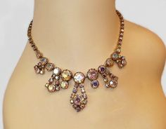 SALE 1950s Necklace Swarovski Crystal Aurora by KMalinkaVintage,
