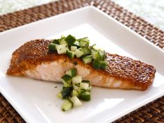 Spice Broiled Salmon with Green Apple Salad #easy #holiday # recipe. Tori Avey