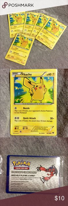 Pikachu Collectors trading cards NEW This listing is for 5 New unopened and sealed Pikachu trading cards. Accessories