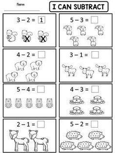 Kindergarten Addition and Subtraction Worksheets (Distance Learning) - Modern Design Kindergarten Addition Worksheets, Subtraction Kindergarten, Addition And Subtraction Worksheets, Preschool Math, Math Activities, Subtraction Activities, Kindergarten Learning, Math Addition, Preschool Printables