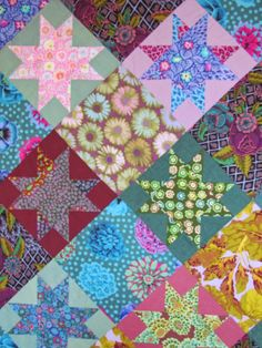 Ohio Star quilt top, Kaffe Fassett pattern, by Anna   Domestic Quilting Joy