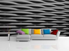 Removable Wallpaper Mural Peel & Stick Abstract 3D Rendering of Futuristic Surface by uniQstiQ on Etsy