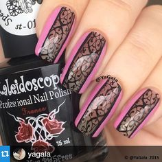 """""""Classy chic - lace and pink! by the fantastically talented @yagala with @repostapp. ・・・ Lace Plate @uberchicbeauty Stamping polish Kaleidoscope…""""Set 1 Plate 1"""