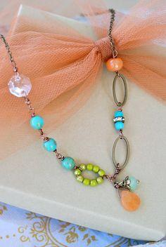Clara. boho glass beaded crystal gemstone necklace.