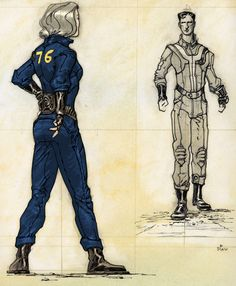Vault jumpsuit - The Fallout wiki - Fallout: New Vegas and Fallout Fan Art, Fallout Concept Art, Fallout Cosplay, Bioshock Cosplay, Vault Dweller, Vault Tec, Fallout New Vegas, Post Apocalypse, Fantasy Characters